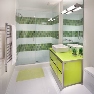 Example Of A Trendy Bathroom Design In DC Metro With A Vessel Sink And Green  Cabinets