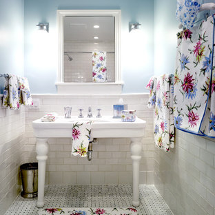 Bathroom - traditional subway tile bathroom idea in Chicago with a console sink