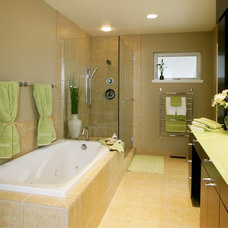Transitional Bathroom by Square Deal Remodeling Co.