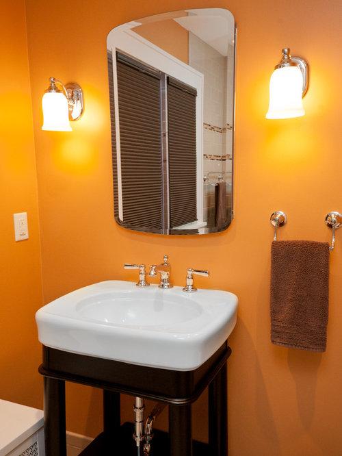 Expanding bathroom design ideas renovations photos with for Orange and brown bathroom ideas