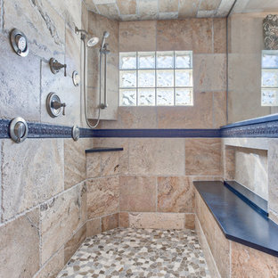 Expansive Traditional Steam Shower in a Spa Like Master