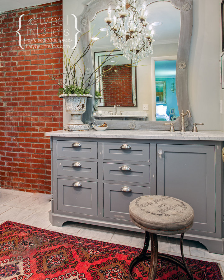 Exposed Brick Master Bath