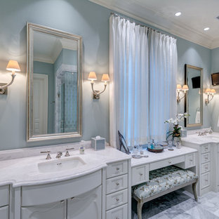 Inspiration for a timeless bathroom remodel in Atlanta with recessed-panel cabinets and white cabinets