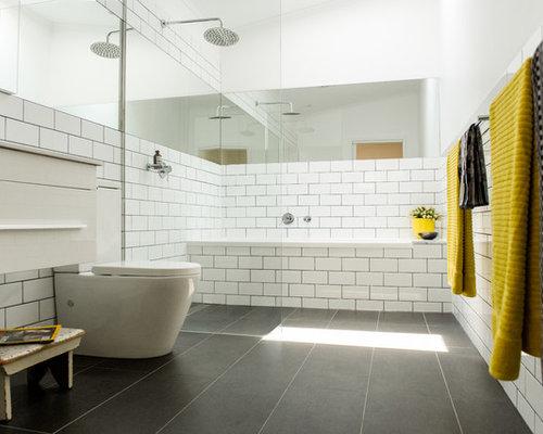 skandinavische badezimmer mit granit waschbecken waschtisch ideen design bilder houzz. Black Bedroom Furniture Sets. Home Design Ideas