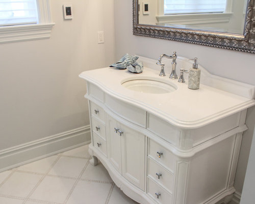 houzz shabby chic style bathroom with dark wood cabinets. Black Bedroom Furniture Sets. Home Design Ideas