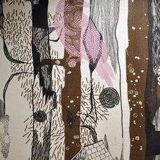 Eclectic Bathroom fabric wallpaper