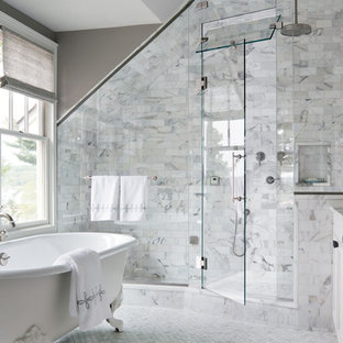 Large transitional master white tile and subway tile marble floor bathroom photo in New York with recessed-panel cabinets, white cabinets, marble countertops and gray walls
