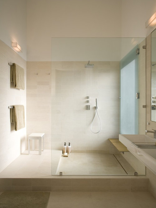 Beige Tiled Bathrooms Minimalist 30 best modern limestone floor bathroom ideas & designs | houzz