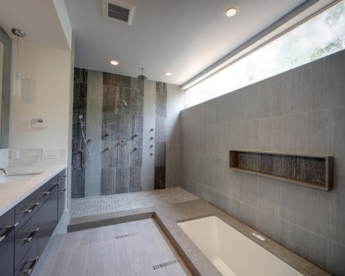 Bathroom Remodel Gray Tile grey tile shower | houzz
