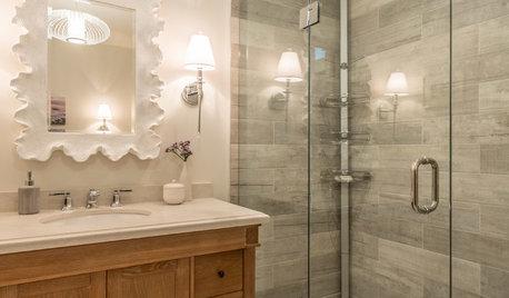 Sand, Shells and Saunas Inspire a High-Traffic Bathroom