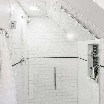 Alcove shower - small contemporary kids' black and white tile and porcelain tile porcelain tile alcove shower idea in Minneapolis with furniture-like cabinets, white cabinets, a two-piece toilet, gray walls and a wall-mount sink