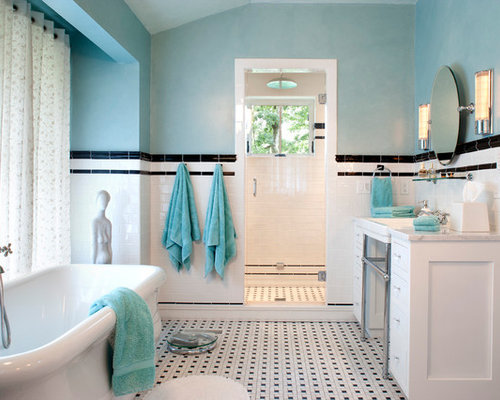 Black White Blue Bathroom Ideas, Pictures, Remodel and Decor