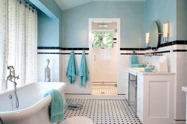 Black And White Bathroom Floor Tile blue and white bathroom bathroom victorian with black white Traditional Bathroom By Tyner Construction Co Inc