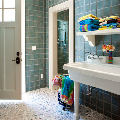 Inspiration for a timeless green tile bathroom remodel in Other with a trough sink