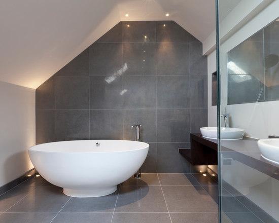 Gray Tile Bathroom Houzz