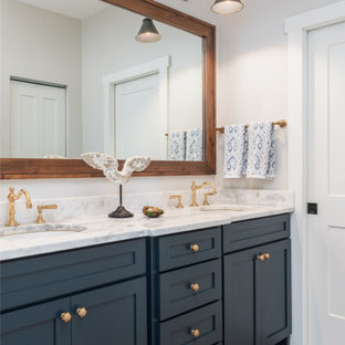 75 Most Popular Bathroom and Cloakroom with Blue Cabinets ...