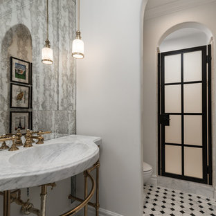 Bathroom - huge industrial master multicolored tile and mirror tile porcelain floor and multicolored floor bathroom idea in Phoenix with open cabinets, a two-piece toilet, white walls, a console sink, marble countertops, a hinged shower door and multicolored countertops