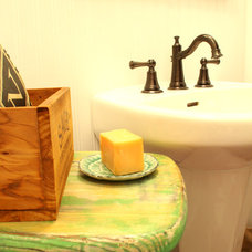 Eclectic Bathroom Farm Style Powder Room