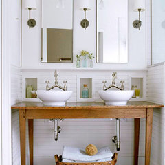 traditional bathroom farm table vanity, double vanity, reclaimed wood,  Country-Style Open Vanity