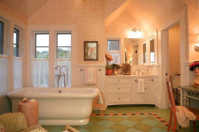 Farmhouse Bathroom by Alison Kandler Interior Design