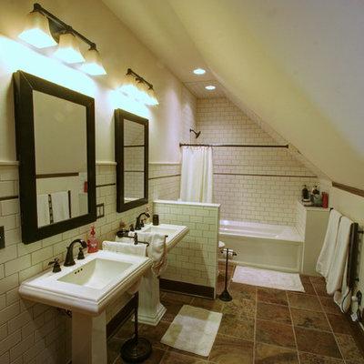 Farmhouse subway tile bathroom photo in Columbus with a pedestal sink