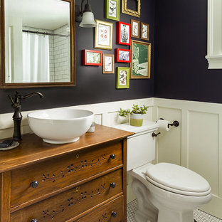 Farmhouse mosaic tile floor and white floor bathroom photo in DC Metro with furniture-like cabinets, medium tone wood cabinets, black walls and a vessel sink