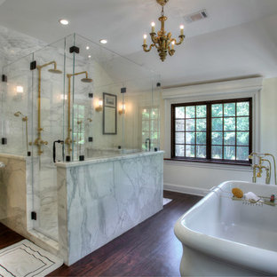 Country Marble Tile Bathroom Photo In New York With A Console Sink