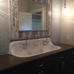 Farmhouse Trough Sink : Boys bath vanity with farmhouse trough sink below the blue penny tile ...