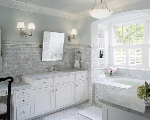 farmhouse bathroom design ideas, remodels  photos with an alcove tub, Home decor