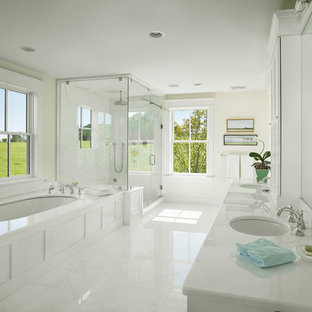 Corner Shower Country White Tile Floor Idea In New York With An