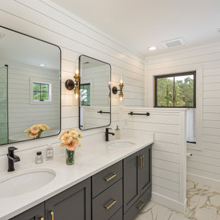 Country beige floor, double-sink and shiplap wall bathroom photo in Other with shaker cabinets, gray cabinets, white walls, an undermount sink, white countertops and a built-in vanity