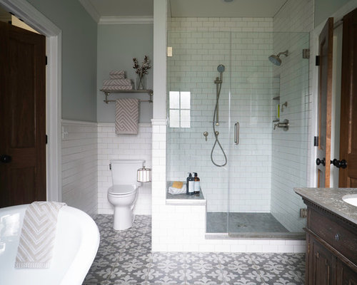 Mid Sized Farmhouse Master White Tile And Subway Tile Porcelain Floor And  Multicolored Floor Bathroom