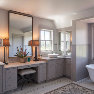 Inspiration for a cottage master multicolored floor freestanding bathtub remodel in San Francisco with shaker cabinets, gray cabinets, gray walls and a vessel sink