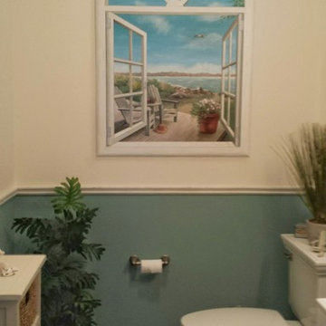 Faux Window in Bathroom with Ocean View