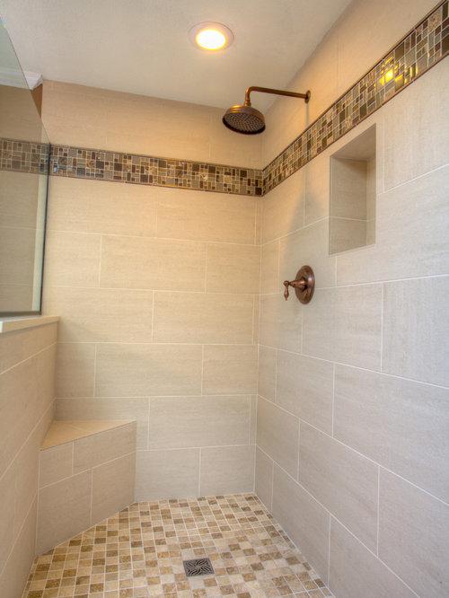 Bathroom ideas photos with beige tiles and brown walls for Brown and beige bathroom ideas