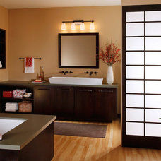 Transitional Bathroom by Littman Bros Lighting