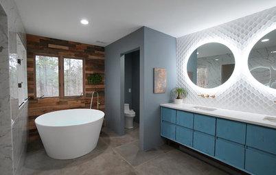 Bathroom of the Week: Wood Walls Warm Up an Eclectic Master Bath