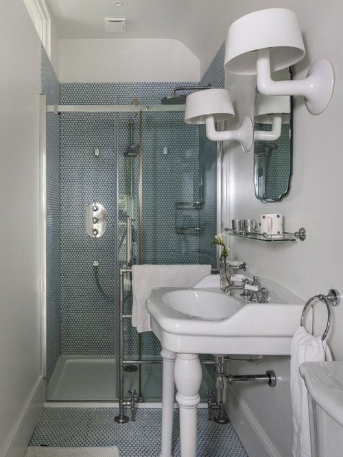 Photo Of A Small Eclectic Shower Room In Hampshire With Blue Tiles, White  Tiles,