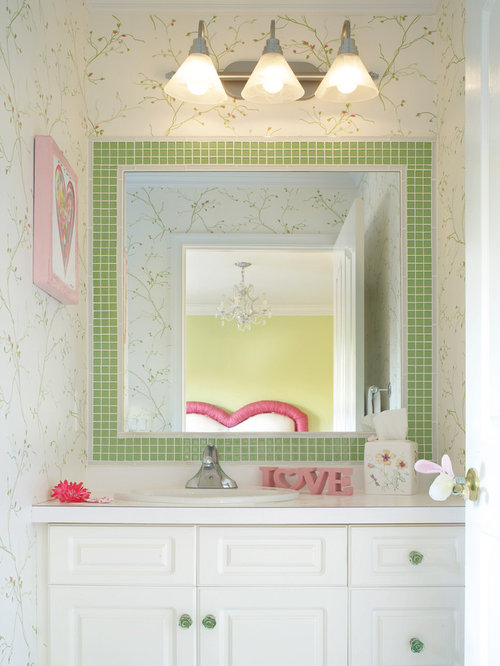 Wall Decor Around Mirror : Tile border around mirror home design ideas pictures
