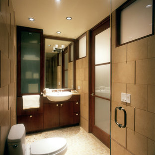 Bathroom - mid-sized contemporary 3/4 bathroom idea in New York with flat-panel cabinets, medium tone wood cabinets, a one-piece toilet and beige walls