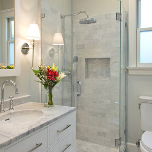 Corner Shower   Small Transitional Gray Tile And Stone Tile Marble Floor  Corner Shower Idea In