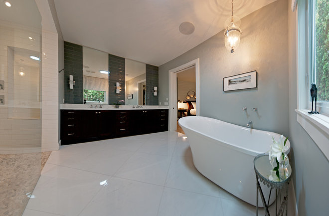 transitional bathroom Finding a Vintage Vibe with New Construction in Kelowna, BC