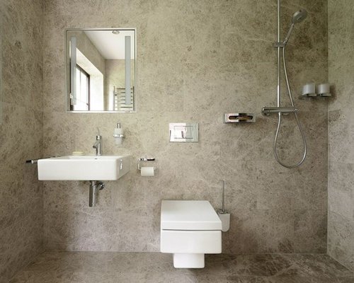 This Is An Example Of A Small Modern Shower Room In Other With A Wall