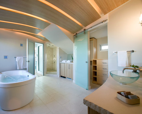 Example Of A Trendy Master Beige Tile Bathroom Design In San Francisco With  A Vessel Sink