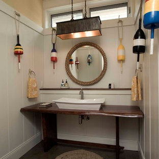 Inspiration for a coastal bathroom remodel in Chicago with a vessel sink