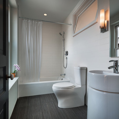 Dark Tile Flooring Fascinating Dark Tile Floor  Houzz Decorating Design