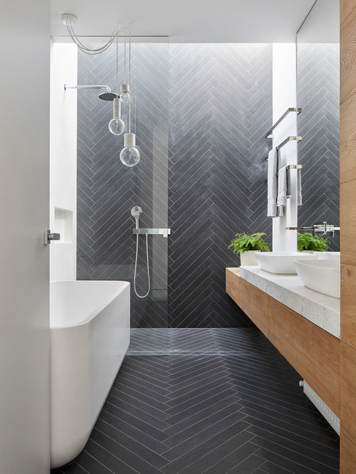 Small Bathroom eclectic bathroom photo in london with an alcove shower and gray tile Small Bathroom Design Ideas Remodels Photos