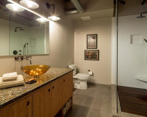 industrial badezimmer mit terrazzo waschtisch ideen. Black Bedroom Furniture Sets. Home Design Ideas