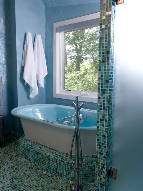 Inspiration For A Contemporary Blue Tile And Mosaic Tile Mosaic Tile Floor  Freestanding Bathtub Remodel In