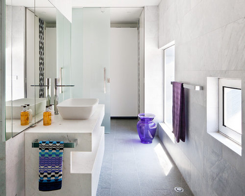 Inspiration For A Contemporary Bathroom Remodel In Melbourne With A Vessel  Sink